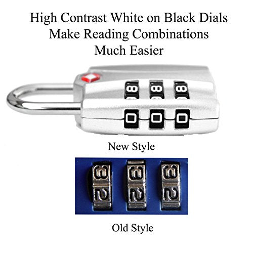 Forge TSA Locks 2 Pack Silver - Open Alert Indicator, Easy Read Dials,  Alloy Body