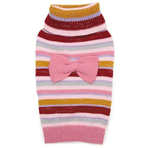 Zack & Zoey Elements Striped Bow Sweater, Large