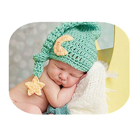 Fashion Newborn Boy Girl Baby Costume Knitted Photography Props Cute Hat Headdress (Green)
