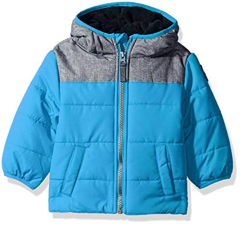 Carter's Baby Boys Puffer Jacket Coat With Soft Fabric Yolk, Teal/Navy, 12M