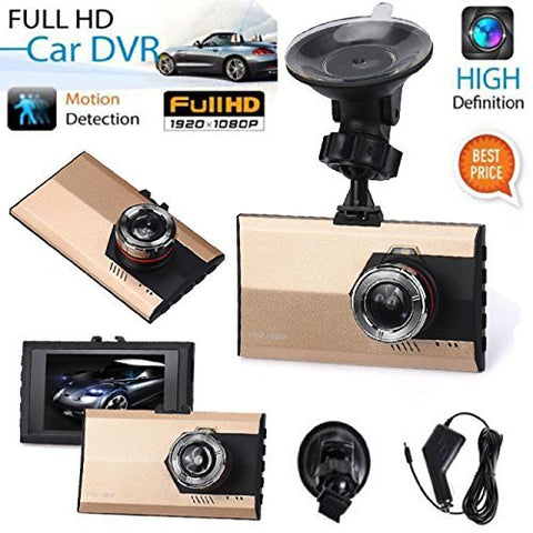"ZIYUO Hot sale Car Dash Camera with G-sensor 3"" Full HD 1080P Car DVR Vehicle Camera Video Recorder Gold"