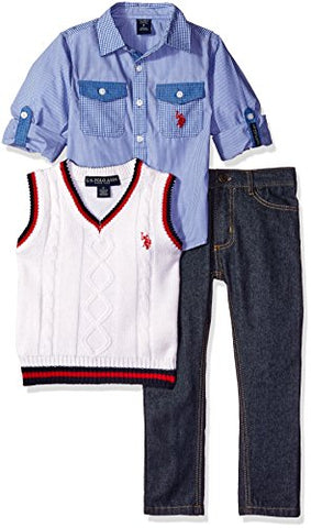 U.S. Polo Assn. Little Boys' Toddler Long Sleeve Fancy Sport Shirt, Sweater Vest and Denim Jean, White Combo, 3T