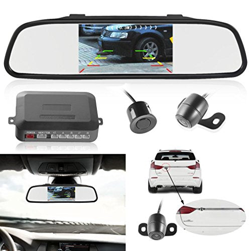 Backup Camera and Car Monitor Camera, LESHP Car Vehicle Rearview Mirror Monitor with High-tech Processing Intelligent Parking Assistance System 4 Parking Sensor Rear View Camera TFT LCD Monitor
