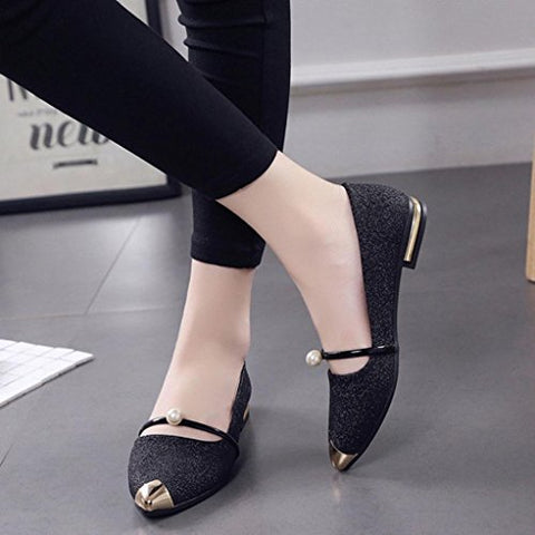 Women Flat Shoes HGWXX7 Casual Low Heel Shallow Mouth Single Shoes Pointed Toe Ladies Shoes Flat Shoes (6.5, Black)