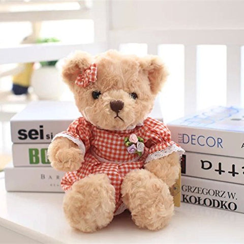YXCSELL Brown Cute Soft Plush Stuffed Animals Small Teddy Bear in Orange Plaid Skirt Girl Female Women Mother's Day Teddy Bear Gift 12""