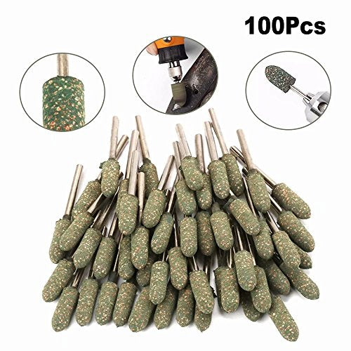 100Pcs 12mm Cone Sesame Rubber Polishing Head 3mm Shank Abrasive Grinding Burr Bit Rotary for Cleaning, Polishing Metals, Castings, Welded Joints and Rust