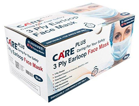 Care Plus Disposable Face Mask - 3 Ply Pleated, Earloop, Blue, 100 pc (2) Boxes