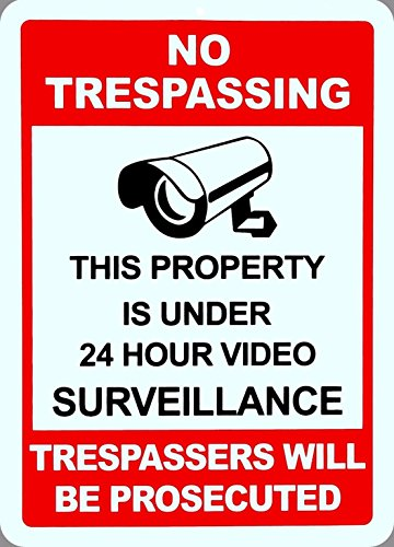 "1-Pc Foremost Popular No Trespassing Yard Signs Anti-Robber Surveillance 1-Side Printed Size 10"" x 14"""