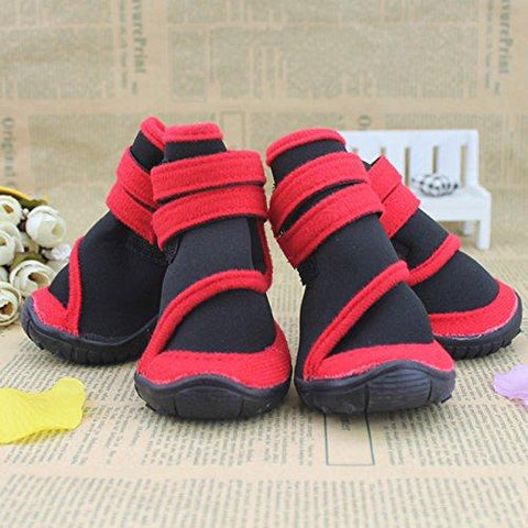 ZX101 4Pcs Fashion Waterproof Pet Dog Shoes Anti-Slip Comfortable Protective Boots size XXS (Red)