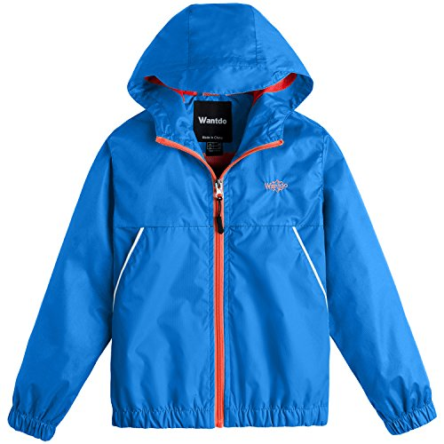 Wantdo Boy's Light Weight Spring Jacket Hooded Windbreaker Packable Mesh Lined Rain Wear for Hiking(Acid Blue, 6/7)