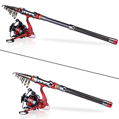 YONGZHI Rod and Reel Combo Carbon Fiber Telescopic Fishing Poles and Spinning Reels Saltwater for Bass Trout
