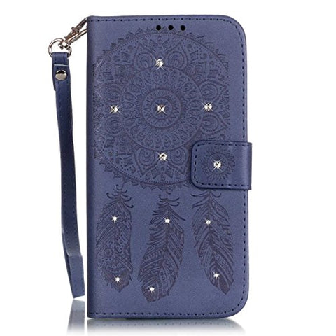 iPhone 7 Plus Case,[Dark Blue] Bling Crystal Rhinestone Embossed Windchime PU Leather Case Flip Wallet Cover with Hand Strap for iPhone 7 Plus 5.5inch