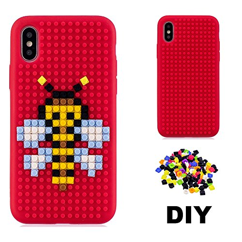 new product 611fb 74aed iPhone X Case DIY Building Blocks, iPhone X 3D Cartoon Back Cover Aeeque  Ultra Thin Soft Silicone TPU Phone Case Block Toys Slim Fit Shockproof ...