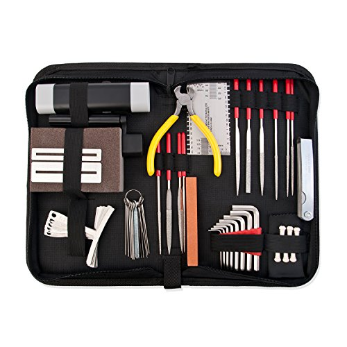 Guitar Repair and Maintenance Accessories Kit - Complete Care Set of Tools For Guitar Ukulele & Bass. Guitar Kit With Convenient Case, Perfect Gift for Music or String Instrument Enthusiast