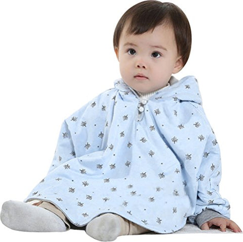 Bienvenu Baby Girls Boys Toddlers Double-Side Wear Cape Coat Snowsuit Warm Poncho,Blue/Gray,80cm