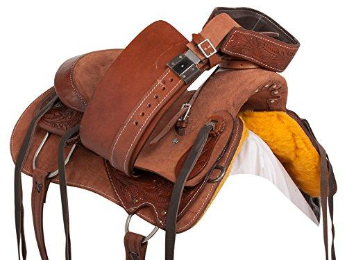 """PREMIUM 15"""" 16"""" 17"""" WADE TREE ROPING WESTERN RANCH WORK RODEO ROUGH OUT  HORSE SADDLE TACK SET HAND TOOLED"""