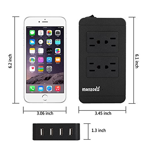 Surge Protector Power Strip, 4 AC Outlets + 4 USB Charger Ports 1700J 2500W 10A 6ft Cord Charging Station with Overload Protection for iPhone, iPad & Other Electronics in Home, Office, Hotel (Black)