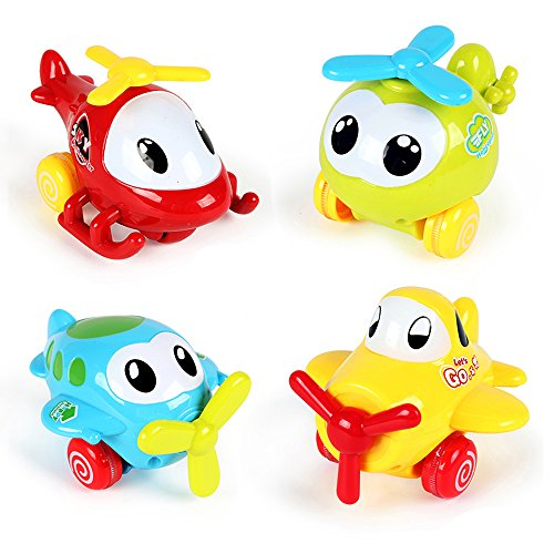 "PUSITI Pull Back Cartoon Plane Assorted 4"" Airplane Friction Cars Playset 4 Pack Plastic Helicopter Aircraft Preschool Children Baby Toddlers Kids Pull-Back Vehicle Education Learning Toys"