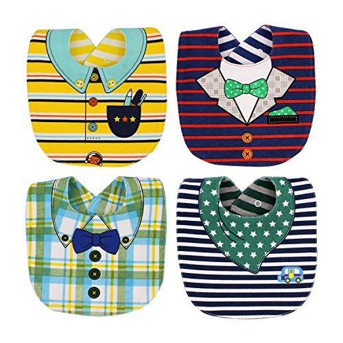 EGOFLEX 4-Pack Premium Baby Bibs Set - Burp Cloths, Teething, Feeding, Drooling Reversible for Babies Boys with Adjustable Snaps