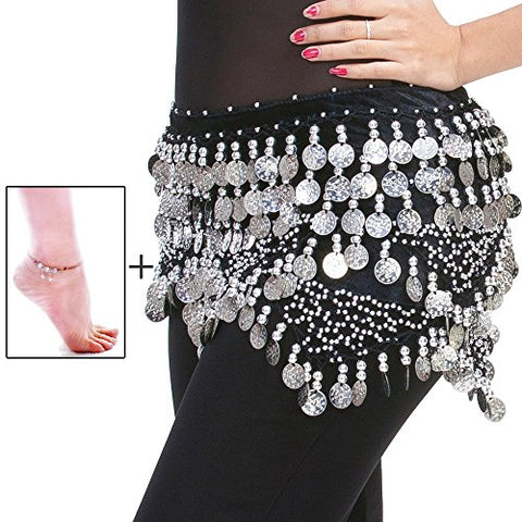 Mutreso Belly Dance Hip Scarf with 320 Gold/Silver Ringing Coins 150cm Dance Coin Belt Profession Velvet Performance Skirt Hip Wrap