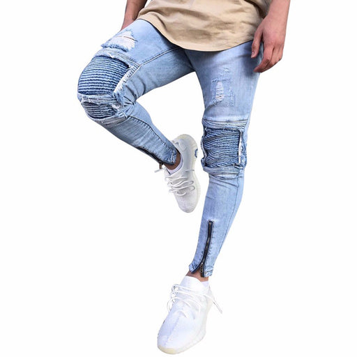 ZOMUSA Men's Ripped Slim Fit Motorcycle Vintage Style Denim Jeans Hip Hop Streetwear Pants (Size:36, Blue)