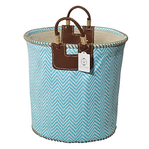 "XNWYTECH Woven Storage Basket, 15"" x 14.2"" Organization Bin with Leather Handle for Towel, Laundry, Magzine, Gift Basket (15"" x 14.2"", Chevron cyan)"