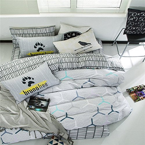 VClife Duvet Cover Sets Queen Full Boys Bedding Collections Cotton Reversible White Grey Geometric Pattern Design, Kids Bedding Comforter Cover for All Seasons, Lightweight, Breathable, Comfortable