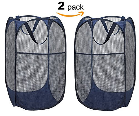 "ZAFFIRO 2 Pack Foldable Pop-Up Laundry Hamper with Side Pocket, Durable Mesh Hamper Clothes Laundry Basket Storage Bag with Reinforced Carry Handles for Dirty Clothes- 14"" x 24"",Navy Blue"