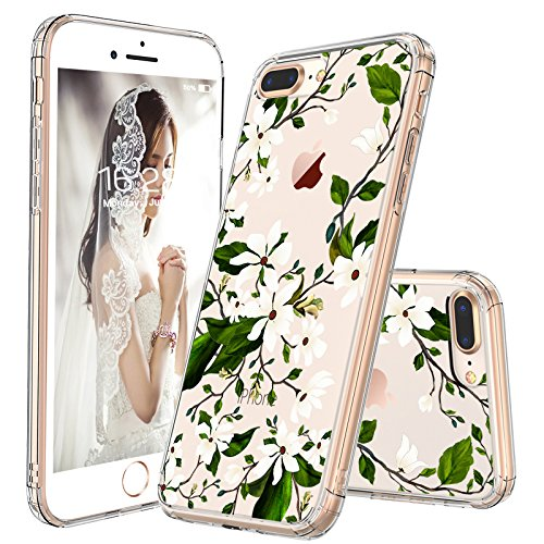 new style 8a9d3 2971b iPhone 7 Plus Case, iPhone 8 Plus Case Protective, MOSNOVO Floral Magnolia  Flower Pattern Clear Design Transparent Case with TPU Bumper Protective ...