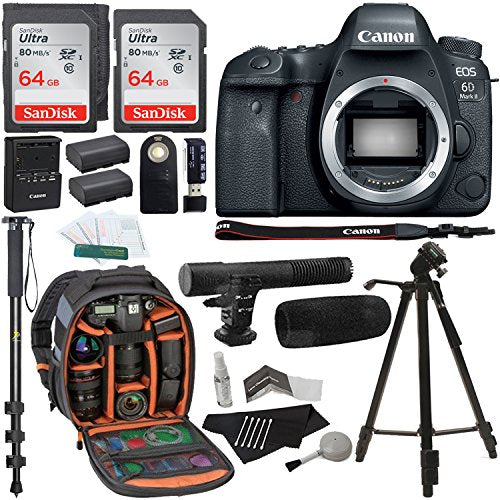 Canon EOS 6D Mark II Digital SLR Camera Body, Sandisk Ultra 64GB 2 Pack,  Ritz Gear Camera Backpack, Tripod, Replacement Battery, Cleaning Kit,  Monopod