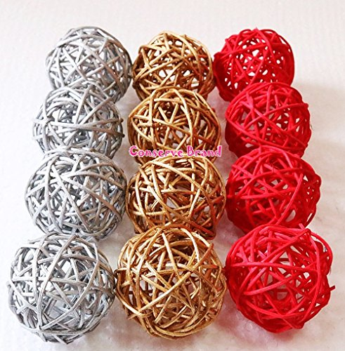 Christmas Gifts Small Silver Gold Red Rattan Ball Wicker Balls Stunning Small Decorative Balls