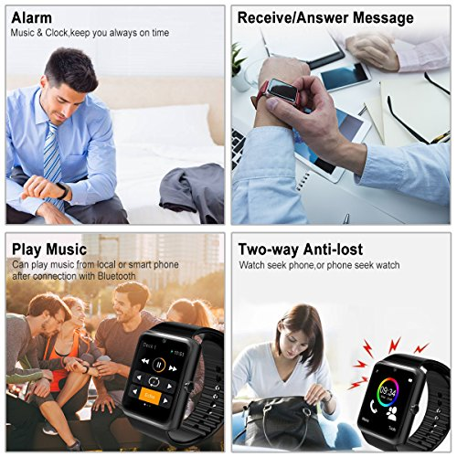 Smart Watch,Bluetooth Smartwatch Touch Screen Wrist Watch with Camera/SIM  Card,Waterproof Phone Smart Watch Sports Fitness Tracker for Android iPhone