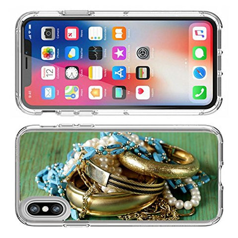 Luxlady Apple iPhone X Clear case Soft TPU Rubber Silicone Bumper Snap Cases iPhoneX IMAGE ID 27468230 gold and pearl jewelry on vintage wooden background