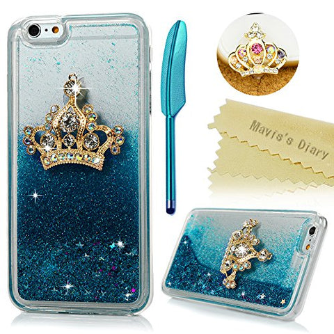 "iPhone 6S Plus Case,iPhone 6 Plus Case (5.5"") - Mavis's Diary 3D Handmade Bling Diamond Golden Crown Flowing Liquid Shiny Moving Stars Soft TPU Border + Hard PC Cover & Dust Plug Stylus Pen"