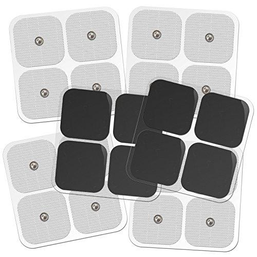 "DONECO 2"" Square TENS Unit Electrodes, Snap On Pads 12 Pairs (24Pads) Electro Pads for TENS Therapy - Universally Compatible with Most TENS Machine Models - Self-Adhering, Reusable and Premium Quality"