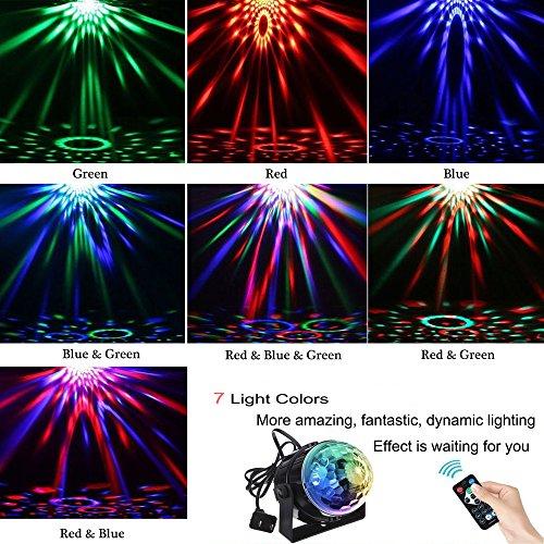 Led Disco Party Lights Ball Lights Zacfton Led Rotating Magic Sound  Activated Lights 3W 7-Color Stage Strobe Effect Show Lamp Lighting Bulb  Kids Night