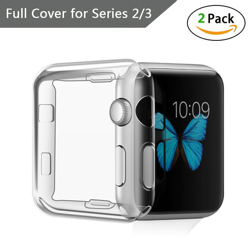 SOOSHOW Apple Watch Screen Protector, All-around Protective 0.3mm Hd Clear Ultra-thin TPU Full Cover iWatch Accessories Protective Case for iWatch Series 2/3, Edition, Sport - 2 Pack (Clear, 42mm)