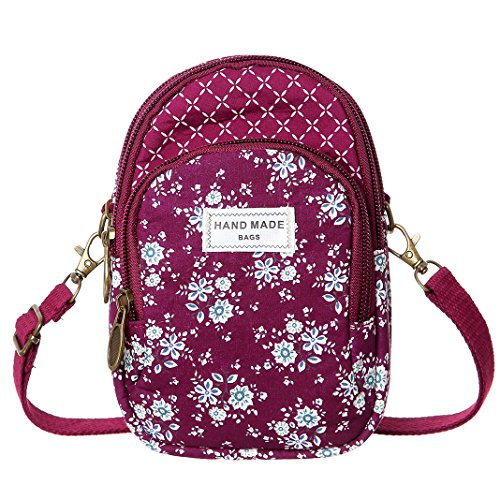 3b95ff20f01e Cell Phone Purse Wallet Canvas Flower Pattern Small Crossbody Purse Bags  For Women