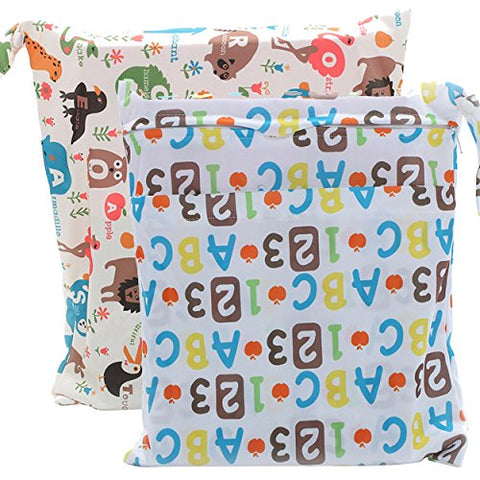 2 Pcs Baby Wet Bag Cloth Diaper Bags Waterproof Reusable with Zippered Pockets for Travel Swimsuits Animal