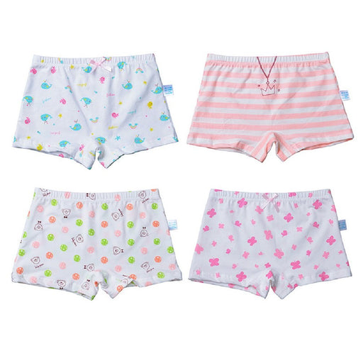 Goodkids Little Big Girls' Organic Breathable Trim Cotton Boxer Briefs Underwear Panties (XL, 4-Pack)