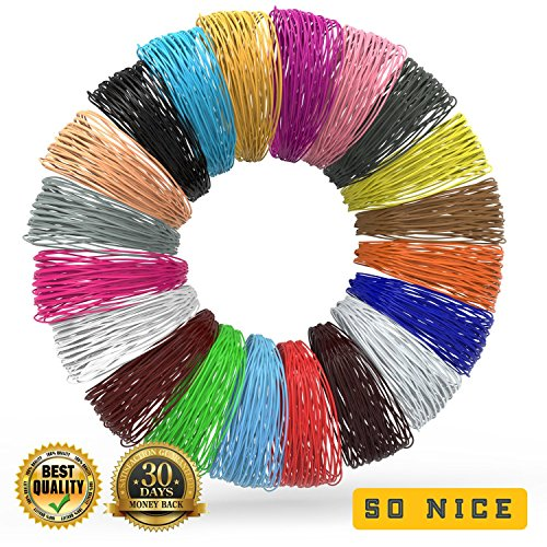 3D Pen Filament Refills - BONUS 100 STENCILS EBOOK & 3 GLOW IN THE DARK COLORS INCLUDED - 3D Pens Filaments Supplies - 20 Colors, 20 Ft of Each - 3D Printer Pen Refill PLA for Kids & Adults (Large)