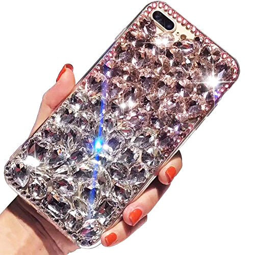 "For iPhone 7 Plus Case,For iPhone 8 Plus Case,SKYXD 3D Luxury Handmade Glitter Rhinestone Bling Full Crystal Diamond Jewelry Back Case Cover for iPhone 7 Plus/8 Plus 5.5""(Pink & White)"