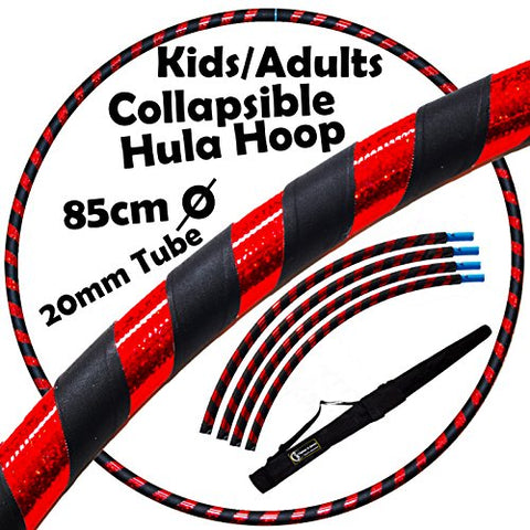 "PRO Kids Hula Hoops COLLAPSIBLE (Ultra-Grip/Glitter Deco) Hula Hoop + Carry Bag! (85cm/33.5"") Hoola Hoops For Exercise, Dance & Fitness! (600g/21.2oz) (Black/Red Glitter)"