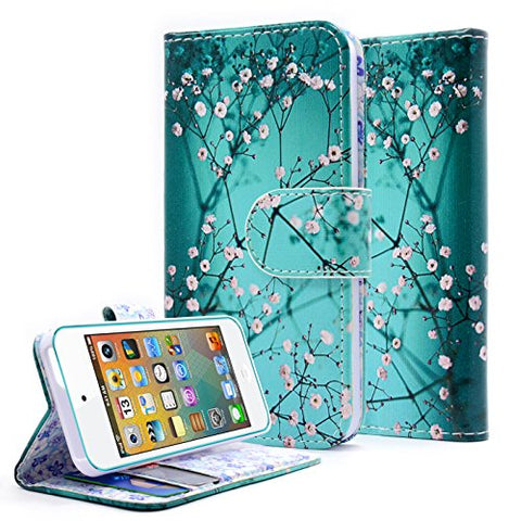 NageBee Dual-Use PU Leather Flip Fold Wallet Case for Apple iPhone 5C - Plum Blossom
