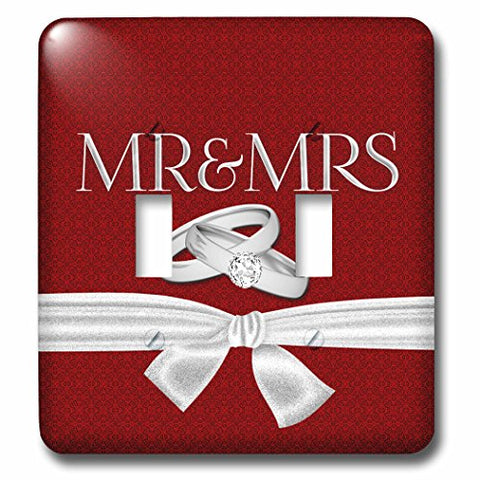 3dRose Doreen Erhardt Wedding Collection - Mr and Mrs in Red Damask with Silver Wedding Rings and Ribbon - Light Switch Covers - double toggle switch (lsp_236187_2)