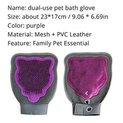 2-in-1 Pet Grooming Glove, Dual-Sided Dual-Use Bath Glove Cleaning Brush, Pet Gentle Deshedding Glove, Pet Hair Remover Mitt Brush Tool Perfect For Long & Short Hair Dog, Horse, Cat, Rabbit(1PC)