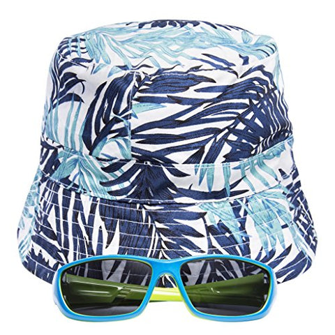 EYEGUARD UV400 Boy's Kids Sunglasses and Sun Hats Combo Children Beach Cap(5-12 years old)