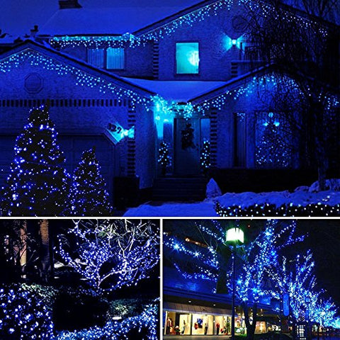 Solar Powered String Lights - Dolucky 72 ft 200 LED Solar Fairy Lights, Waterproof Christmas String Lights for Outdoor Garden Party Wedding Decoration (Blue, 2 Pack)