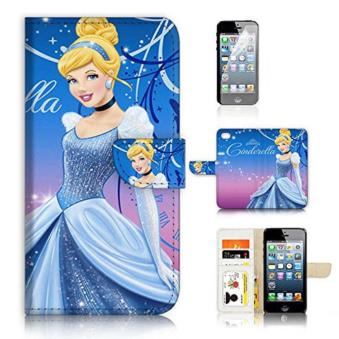 ( For iPhone 8 Plus / iPhone 7 Plus ) Flip Wallet Case Cover & Screen Protector Bundle - A21061 Cinderella
