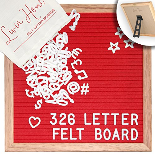 Letter Board With Stand Red Felt Sign With 326 White Plastic Changeable Characters Wooden 10 X 10 Inch Square Solid Oak Frame With 7x5